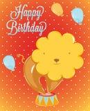 León del circo de la tarjeta de cumpleaños Foto de archivo