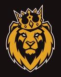 León en mascota del vector de la corona fotografía de archivo