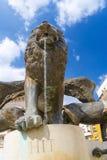 León en una fuente en Szeged Foto de archivo libre de regalías
