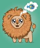 León hambriento lindo Sueños del cachorro de león de pescados deliciosos Animal de la historieta ilustración del vector