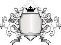León heráldico con el blindaje Imagen de archivo libre de regalías