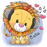 León lindo de la historieta con los auriculares y los corazones ilustración del vector