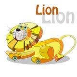 León lindo en un fondo blanco Ilustración del vector Imagen de archivo