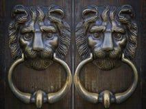 León oriental del metal de la puerta del golpeador del vintage Imágenes de archivo libres de regalías