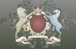 León y capa del unicornio de brazos Imagen de archivo libre de regalías