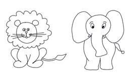 León y elefante Foto de archivo