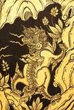 Leões na pintura tailandesa tradicional do estilo Fotos de Stock Royalty Free