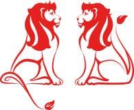 Leões vermelhos ilustração do vetor