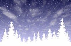 leśny opad śniegu Ilustracji