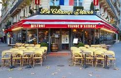 Le战神广场是在埃佛尔铁塔附近的traditonal法国咖啡馆位于巴黎,法国 免版税库存照片