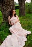 Le årigt vila för gravid kvinna 25-29 vid sjön Posera utomhus motherhood maternity arkivfoto