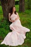 Le årigt vila för gravid kvinna 25-29 vid sjön Posera utomhus motherhood maternity arkivfoton