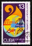 le 20ème anniversaire de la révolution montre des symboles d'industrie, vers 1979 Photo libre de droits