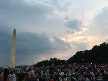 le 4ème juillet chez Washington Monument Images stock