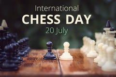 le 20ème juillet - jour international de concept d'échecs Photographie stock