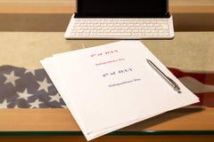 le 4ème juillet, le Jour de la Déclaration d'Indépendance des USA, endroit à faire de la publicité Photos libres de droits