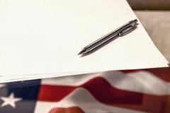le 4ème juillet, le Jour de la Déclaration d'Indépendance des USA, endroit à faire de la publicité Image libre de droits