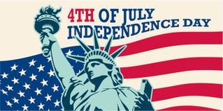 le 4ème juillet, uni Jour de la Déclaration d'Indépendance indiqué LES Etats-Unis Statue de la liberté et du coucher du soleil de illustration stock