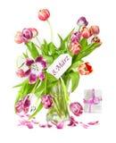 le 8ème mars, le jour des femmes, tulipes Image libre de droits
