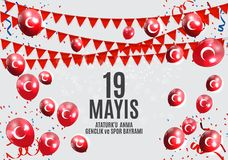 le 19ème peut commémoration d'Ataturk, jeunesse et folâtre le turc de jour parle : anma du ` u d'Ataturk de 19 mayis, bayrami de  Photo libre de droits
