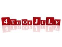 le 4ème juillet en cubes 3d Photos stock