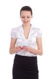 Le affärskvinna med pengar Arkivfoto