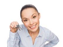 Le affärskvinnan med hustangenter Royaltyfria Foton