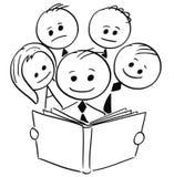 Le affärsmannen Reading Book och fyra andra affärspersoner vektor illustrationer