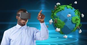 Le affärsmannen som bär VR-exponeringsglas vid låg poly jord Arkivfoton