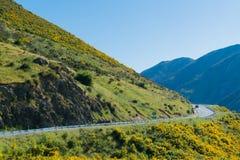 Le alpi alpine del sud montagna ed il lato della strada al ` s di Arthur passano il parco nazionale Nuova Zelanda Fotografie Stock