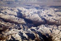 Le alpi dall'aeroplano Fotografie Stock Libere da Diritti