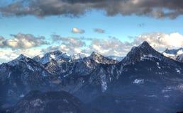 Le alpi nell'inverno (vista dalla Breitenberg-montagna). Fotografia Stock Libera da Diritti