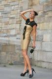 Le alte mode d'uso di modello si vestono e tenendo la frizione dei progettisti Fotografia Stock