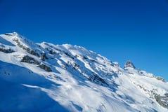 Le alte montagne di vita dello sci nevicano nel fondo del cielo blu dell'inverno Fotografia Stock