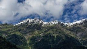 Le alte montagne verdi con i picchi nevosi Fotografie Stock Libere da Diritti