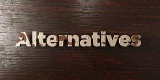 Le alternative - titolo di legno grungy sull'acero - 3D hanno reso l'immagine di riserva libera della sovranità Fotografie Stock Libere da Diritti