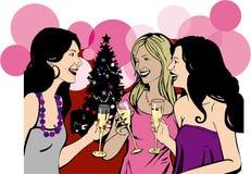 Le amiche celebrano la festa di Natale Immagini Stock