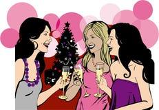 Le amiche celebrano la festa di Natale Fotografie Stock