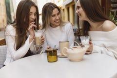 Le amiche si divertono in caff? fotografia stock