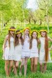 Le amiche stanno stando con le corone dei denti di leone sul loro hea Fotografie Stock Libere da Diritti