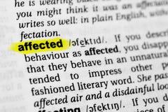 Le ` anglais accentué de mot a affecté le ` et sa définition dans le dictionnaire Images stock