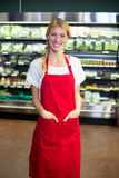 Le anseende för kvinnlig personal med händer i fack i livsmedelsbutikavsnitt Royaltyfri Foto