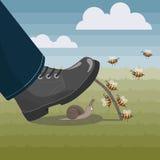Le api aiutano la lumaca sfortunata a restare viva Immagini Stock