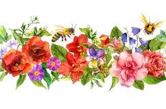Le api, prato fiorisce, erbe dell'estate, foglie selvagge Ripetizione del confine orizzontale floreale watercolor illustrazione vettoriale