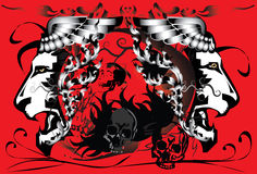 Il cranio canta e tatua Fotografia Stock Libera da Diritti