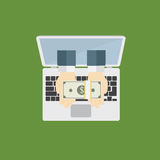 Le attività bancarie online, ottengono molti soldi da Internet Fotografia Stock Libera da Diritti