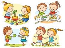 Le attività dei bambini fissate Fotografia Stock Libera da Diritti