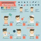 Le attività e le calorie dello sportivo hanno bruciato il infographics con alimento illustrazione di stock