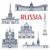 Le attrazioni architettoniche russe assottigliano la linea icone Fotografie Stock Libere da Diritti
