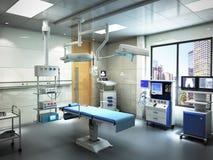 le attrezzature e gli apparecchi medici nella sala operatoria moderna 3d rendono Fotografia Stock